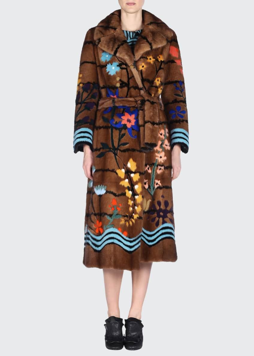 Fendi Floral Intarsia Mink Fur Coat & Wavy-Striped