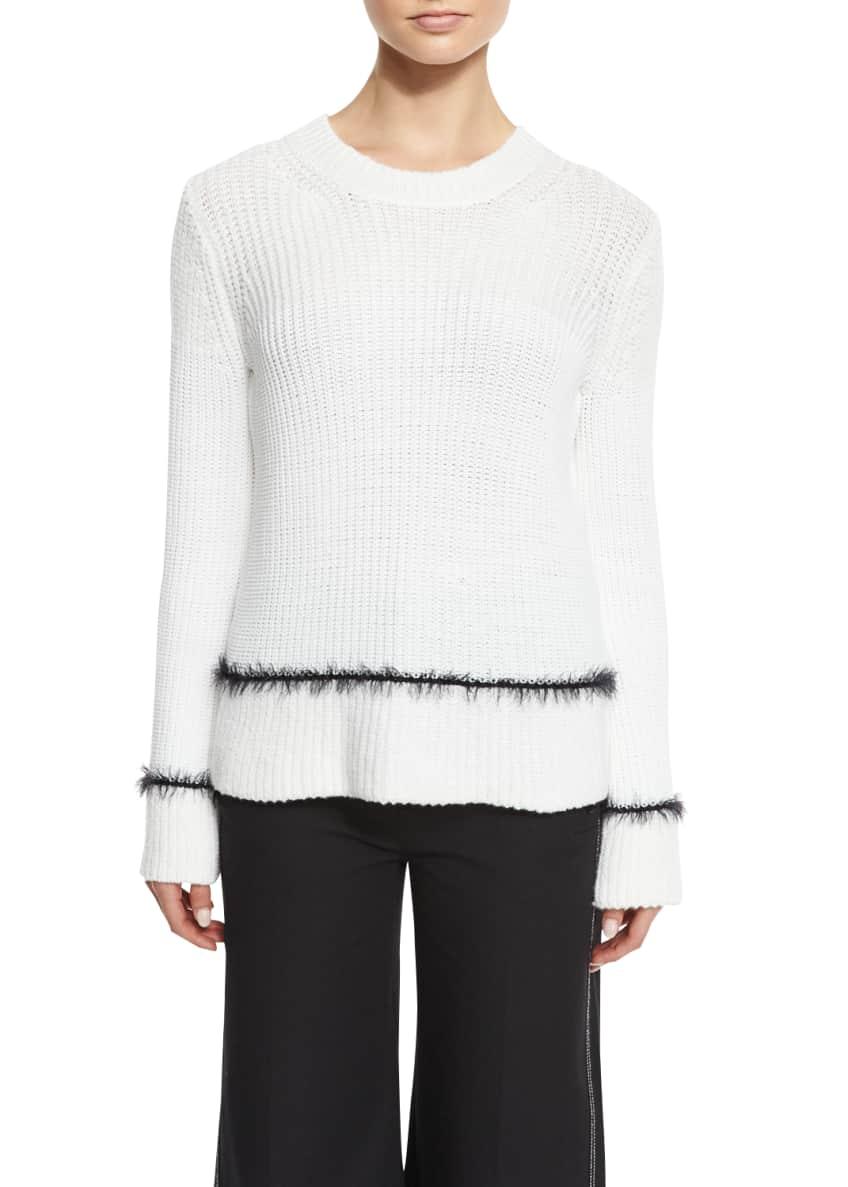 Derek Lam 10 Crosby Long-Sleeve Ribbed Wool-Blend Sweater