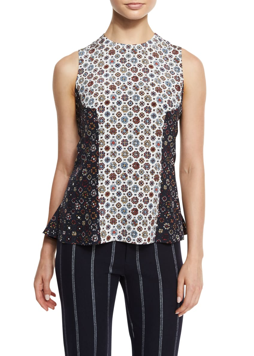 Derek Lam 10 Crosby Sleeveless Floral Silk Shell