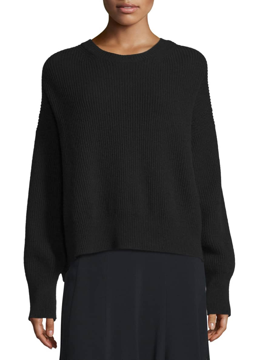 Helmut Lang Ribbed Open-Back Sweater & Full Crepe