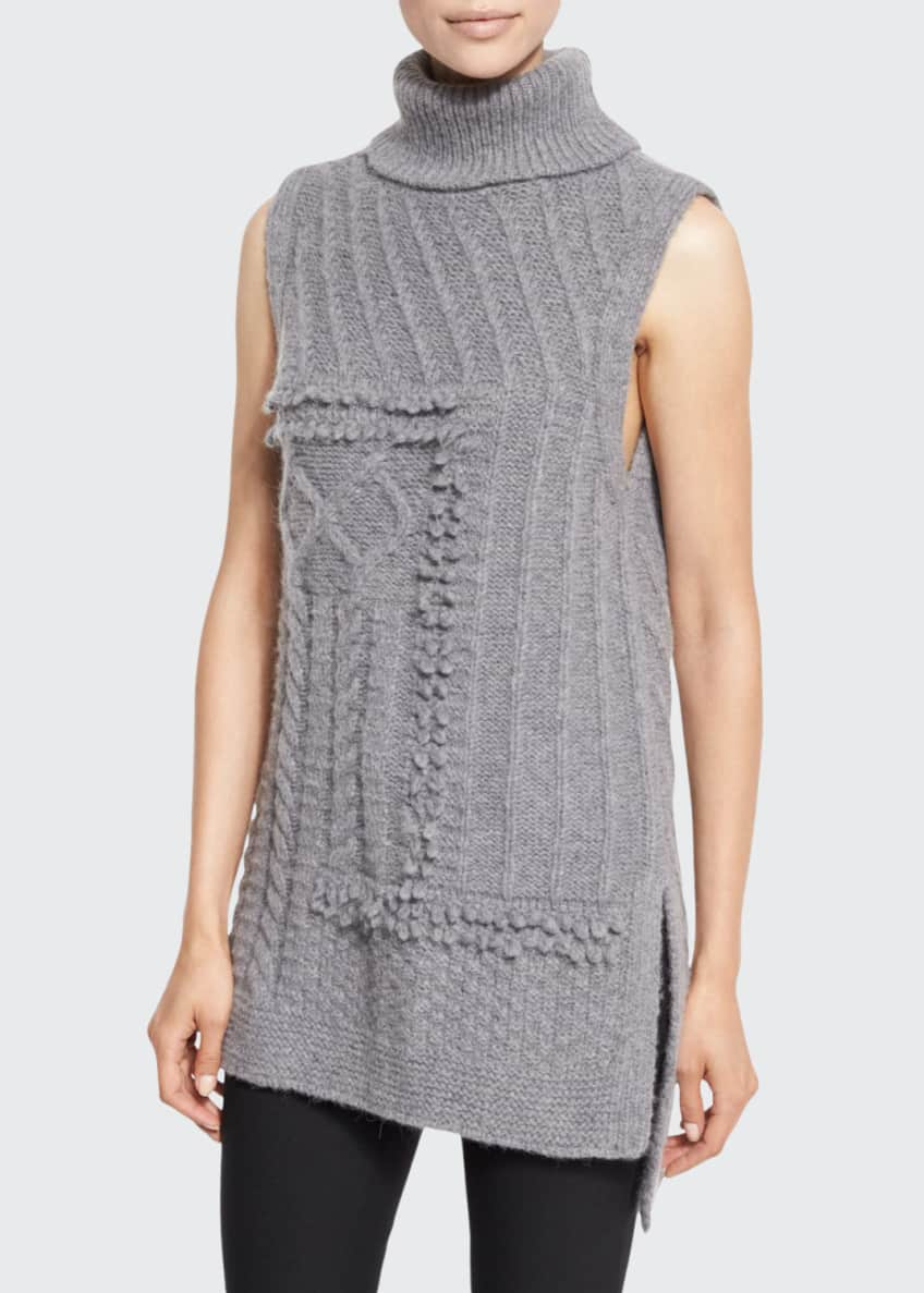 Derek Lam 10 Crosby Sleeveless Oversized Turtleneck Sweater