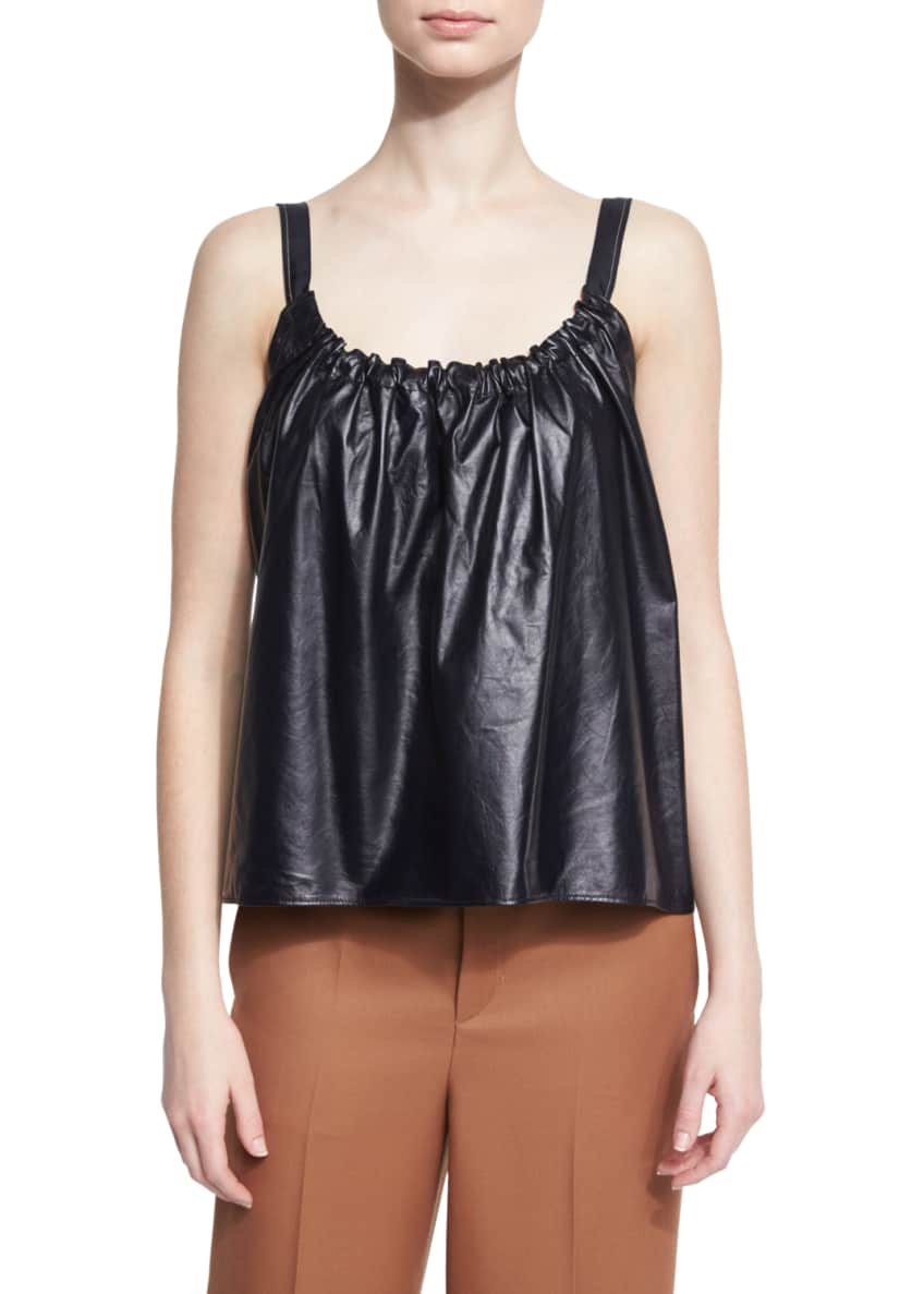 Helmut Lang Smocked Leather Camisole & High-Rise Wool