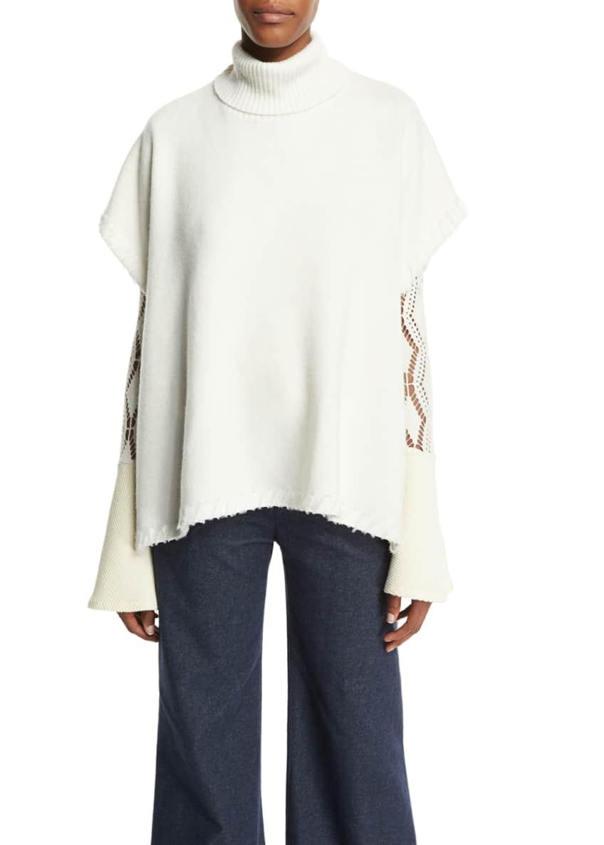 See by Chloe Butterfly-Sleeve Frayed Wool Tie Jacket,
