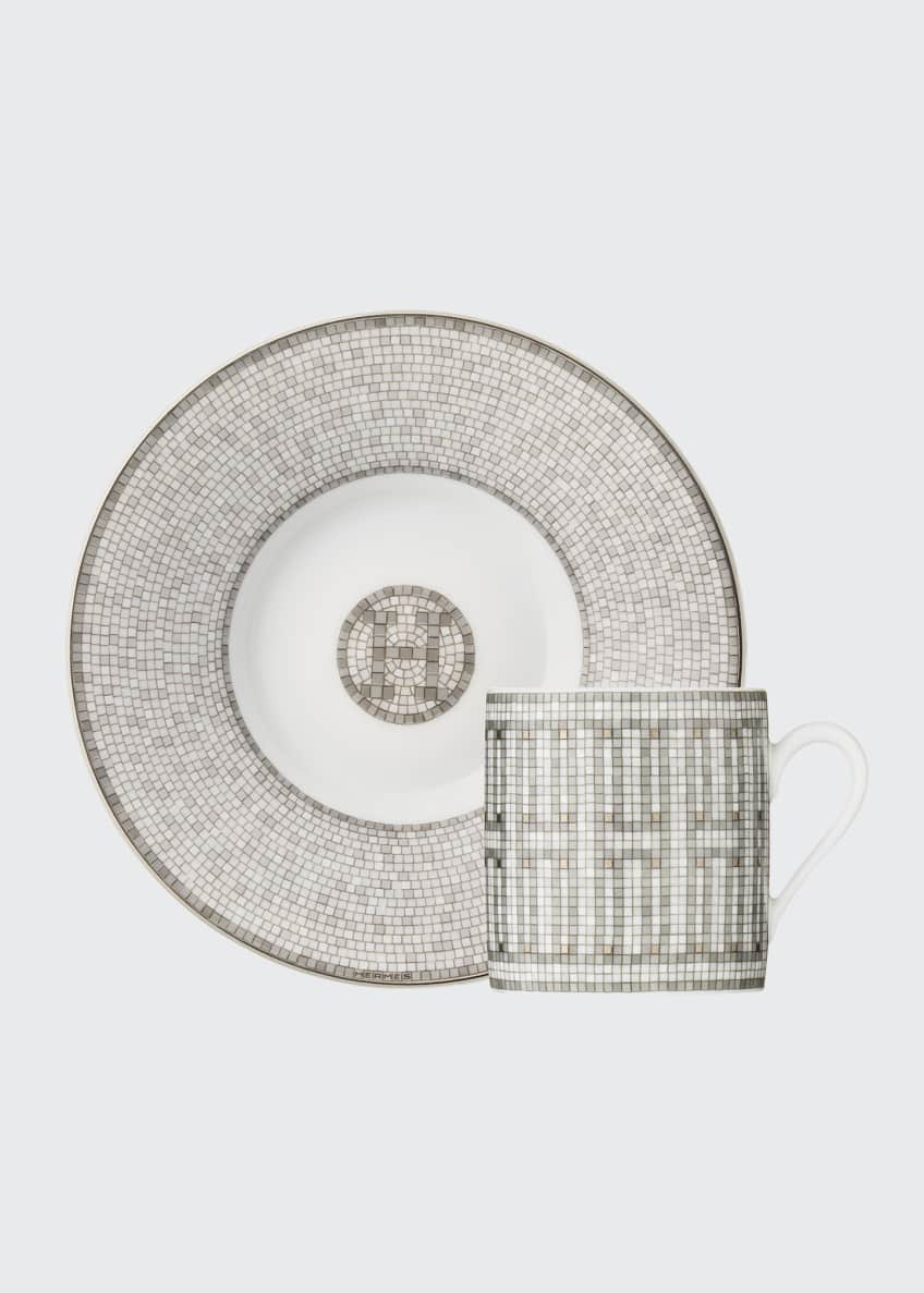 Image 3 of 3: Mosaique Au 24 Platinum Coffee Cup and Saucer Set