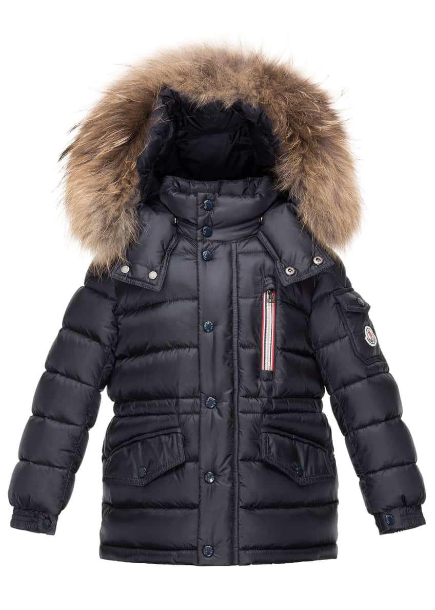 Moncler Boys' Lilian Hooded Puffer Coat, Navy &