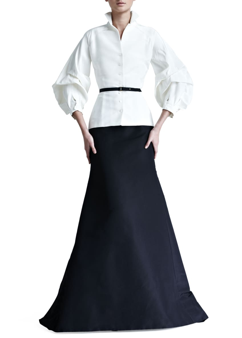 Carolina Herrera Lace Striped Blouse & Silk Faille