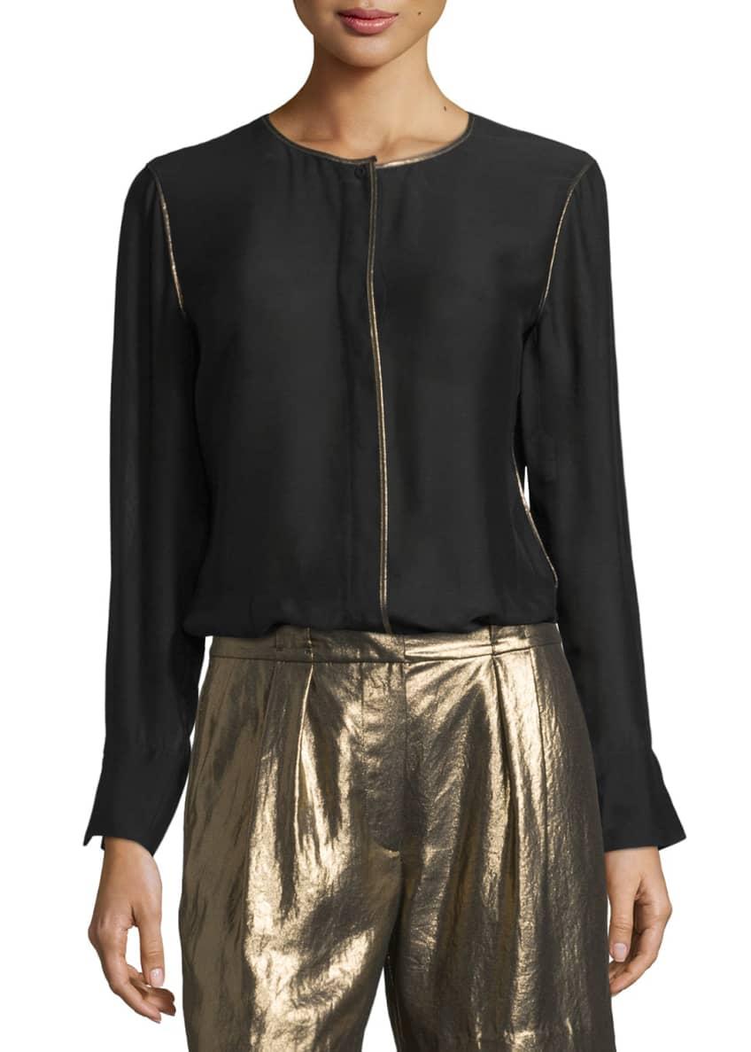 Elizabeth & James Davidson Long-Sleeve Piped Jersey Blouse