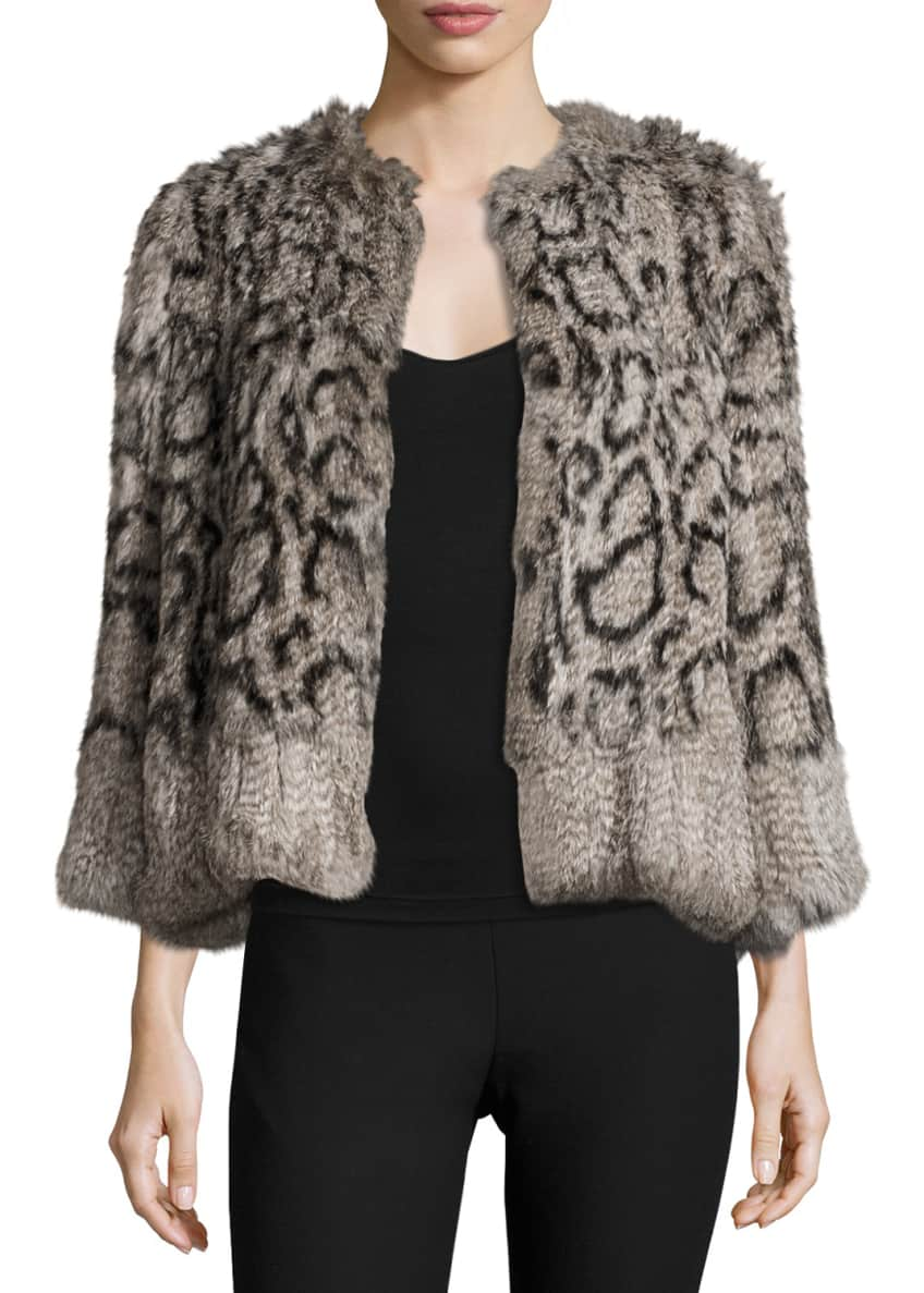 Elizabeth & James Cassidy Short Rabbit Fur Jacket