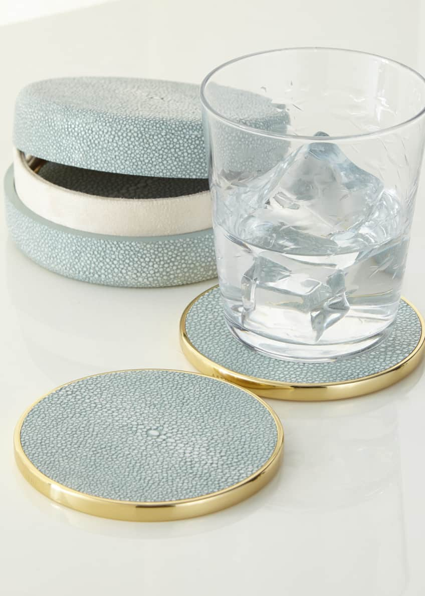 Image 1 of 2: Faux-Shagreen Coaster Set