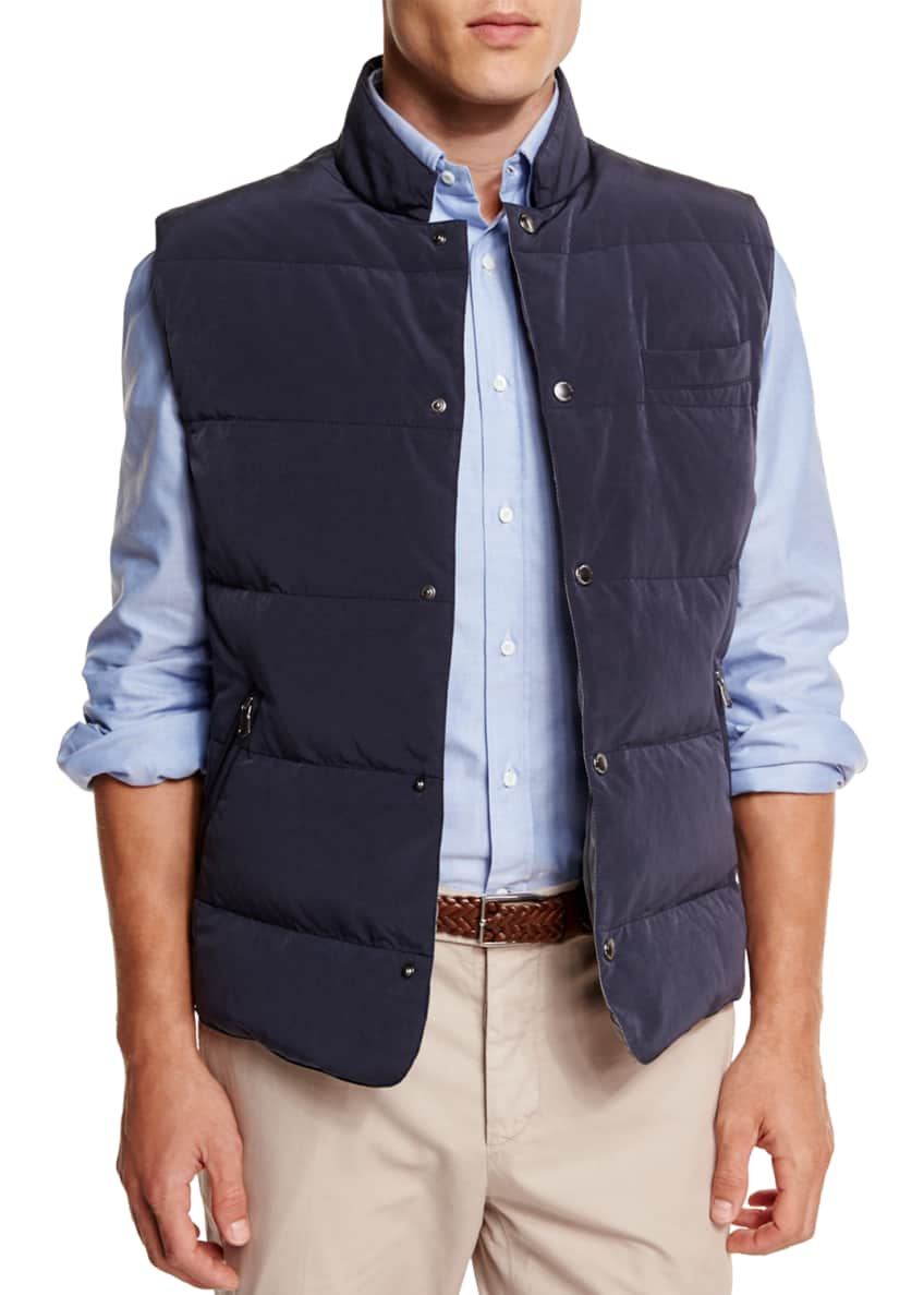 Brunello Cucinelli Quilted Snap-Button Vest, Oxford Button-Down