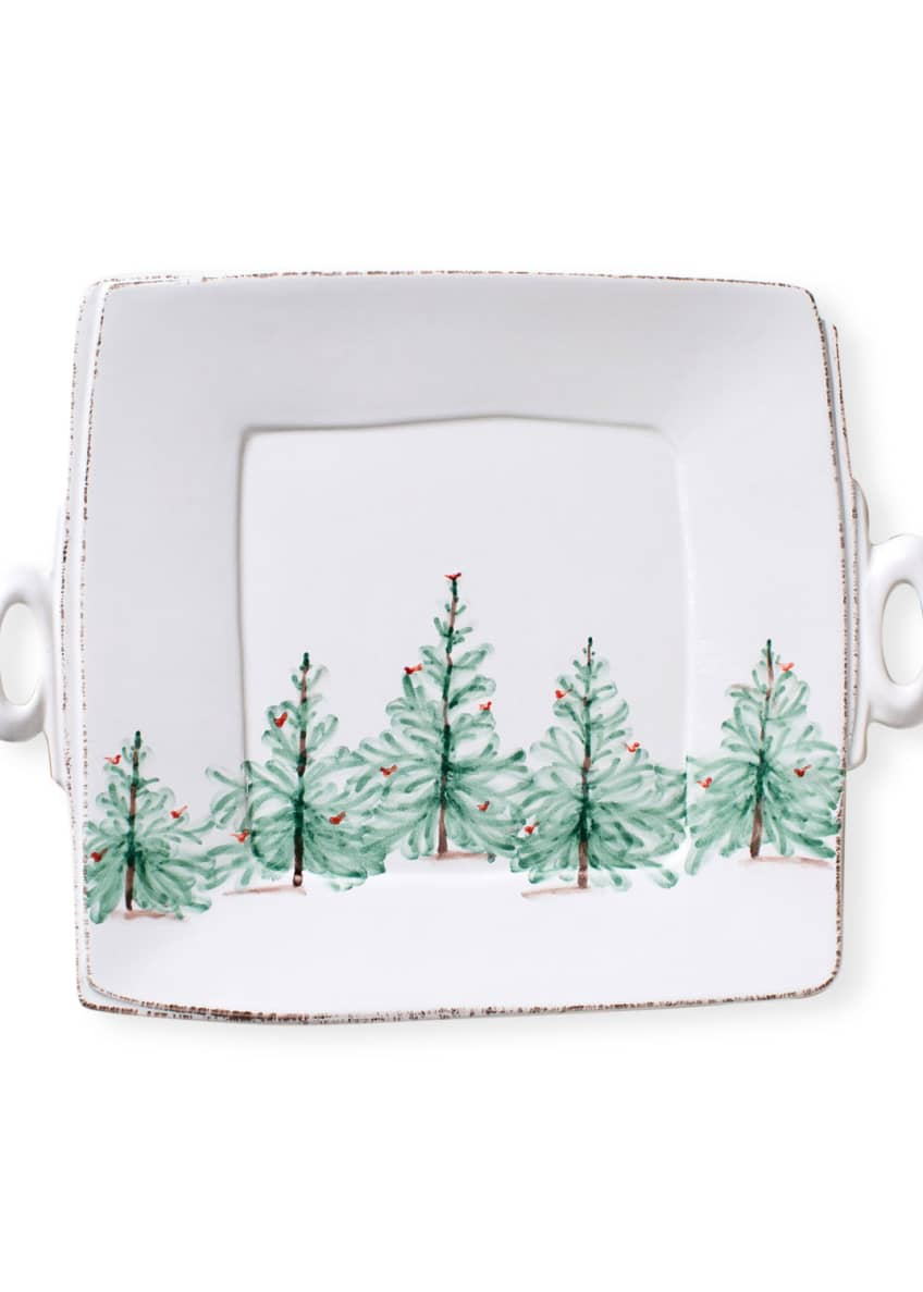 Image 1 of 3: Lastra Holiday Square Handled Platter