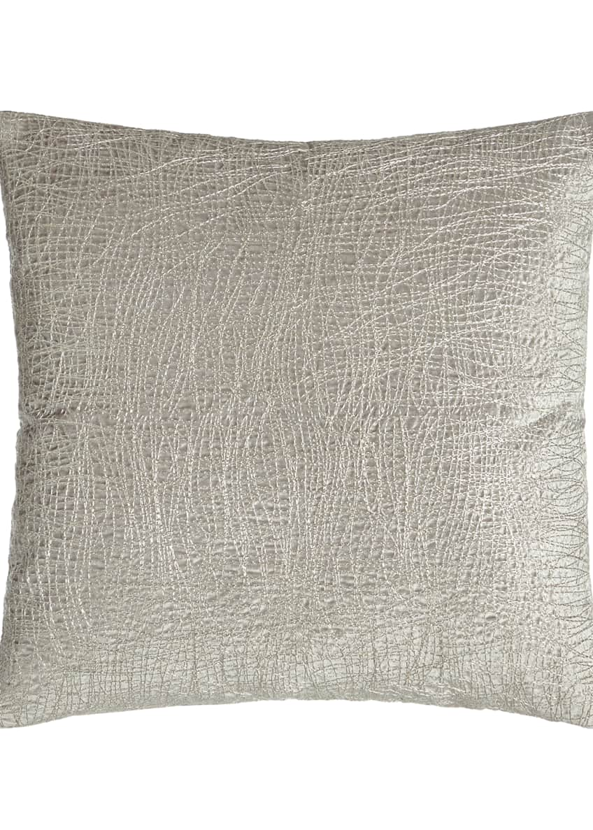Donna Karan Home Metallic Embroidered Velvet Pillow, 18