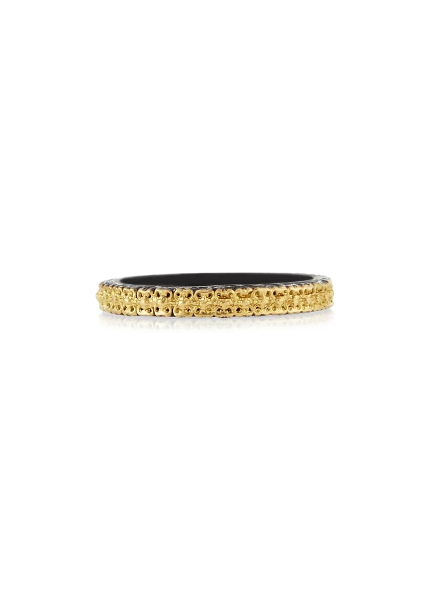 Image 1 of 1: Midnight & 18k Gold Stackable Band Ring