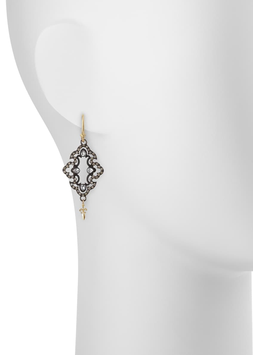 Image 2 of 2: Open Scroll Diamond Drop Earrings