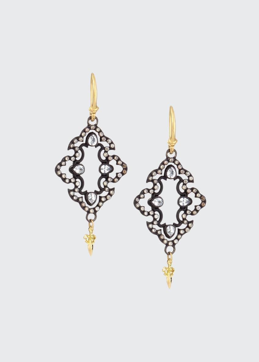Armenta Open Scroll Diamond Drop Earrings