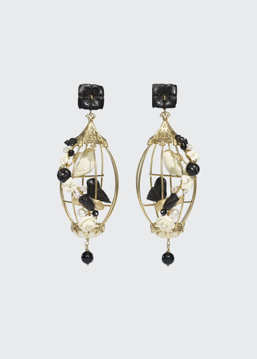 Image 1 of 1: Lovebirds Onyx Drop Earrings, Black/White