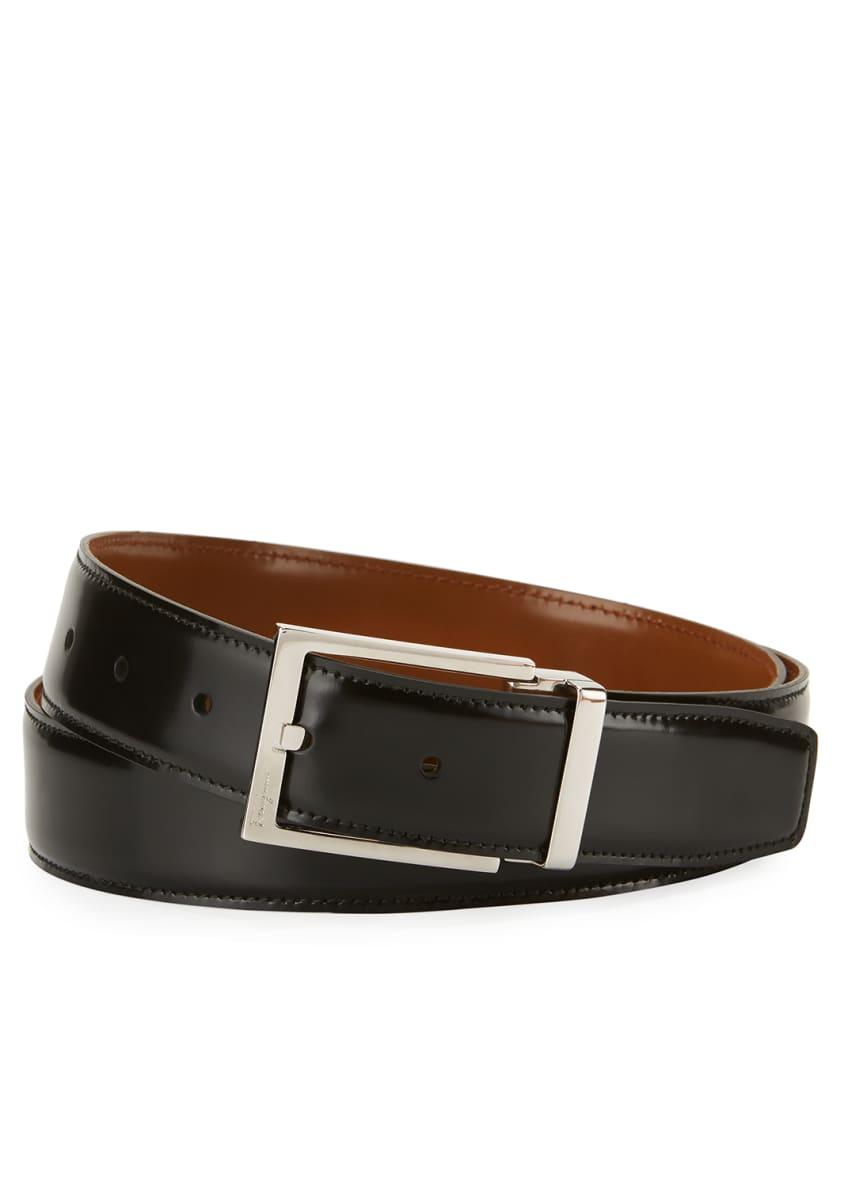 Salvatore Ferragamo Reversible Lux Calfskin Leather Belt,