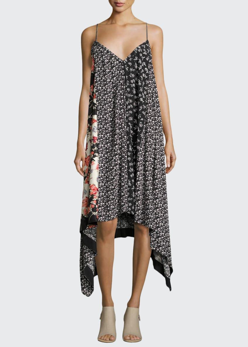 Rag & Bone Londar Floral-Print Sleeveless Handkerchief-Hem Dress,