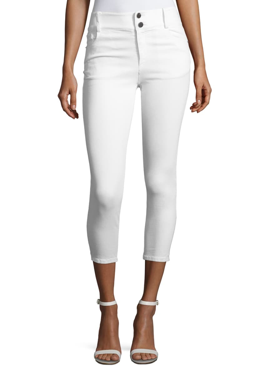 Alice + Olivia Quinn Cropped Skinny Jeans, White
