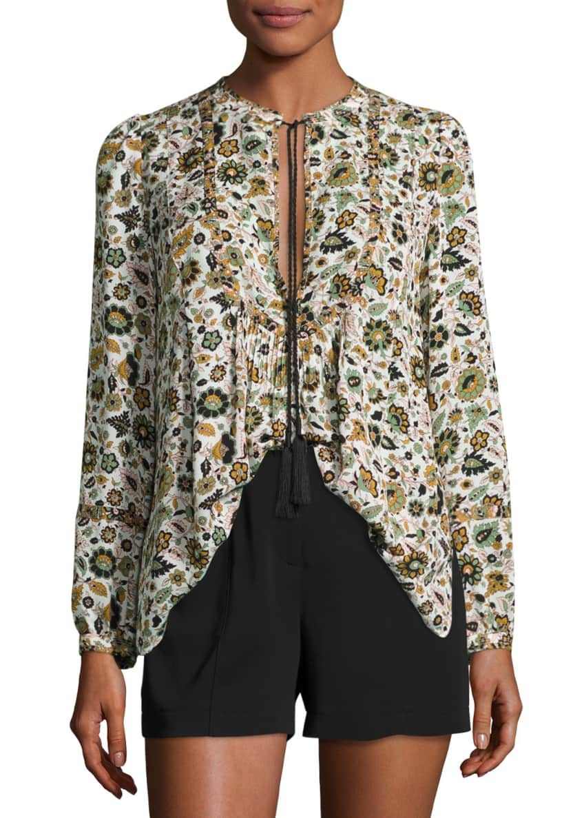 A.L.C. Hari Long-Sleeve Floral Silk Top, White/Multicolor &