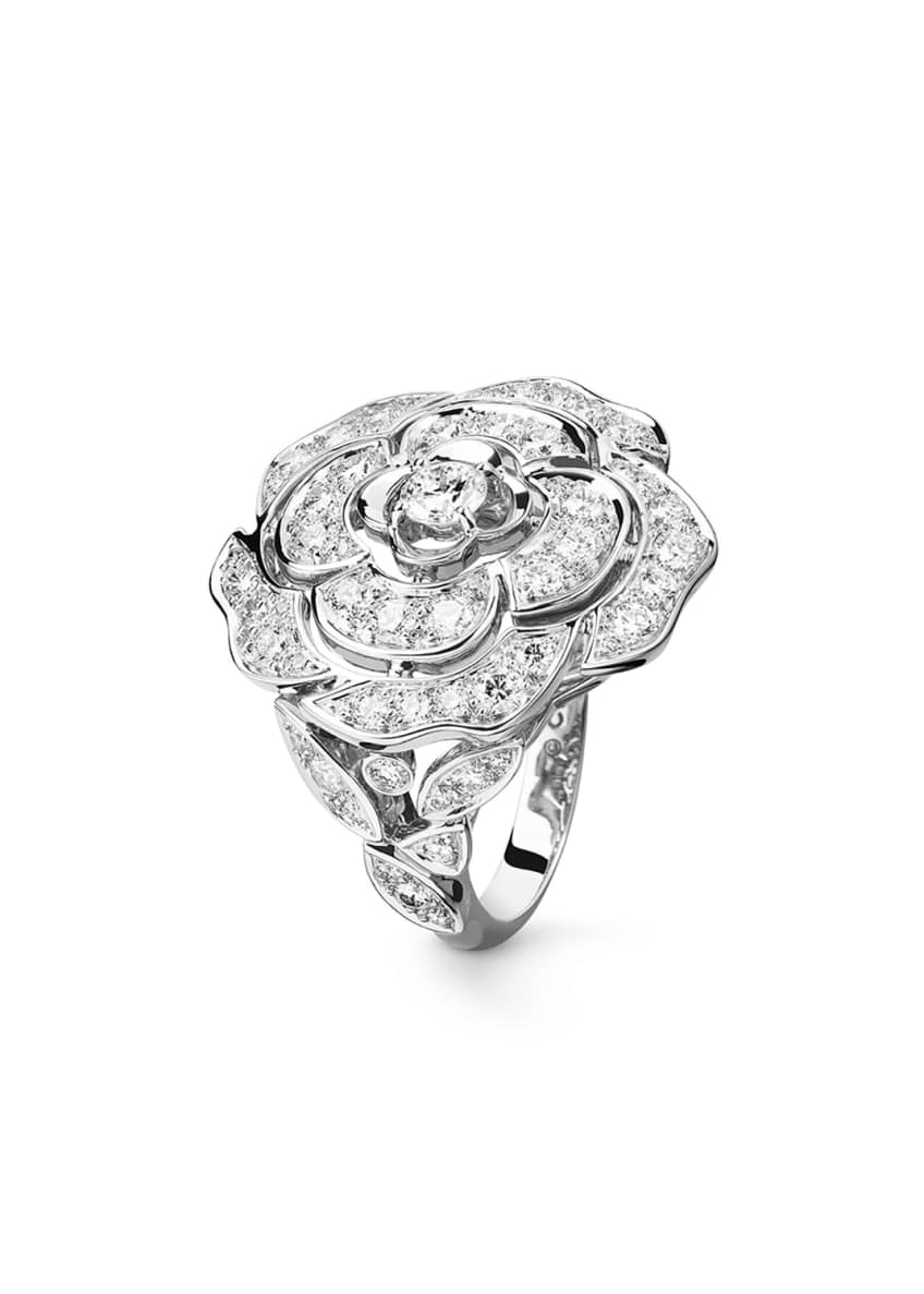 Image 1 of 1: BOUTON DE CAMELIA Large Ring in 18K White Gold and Diamonds