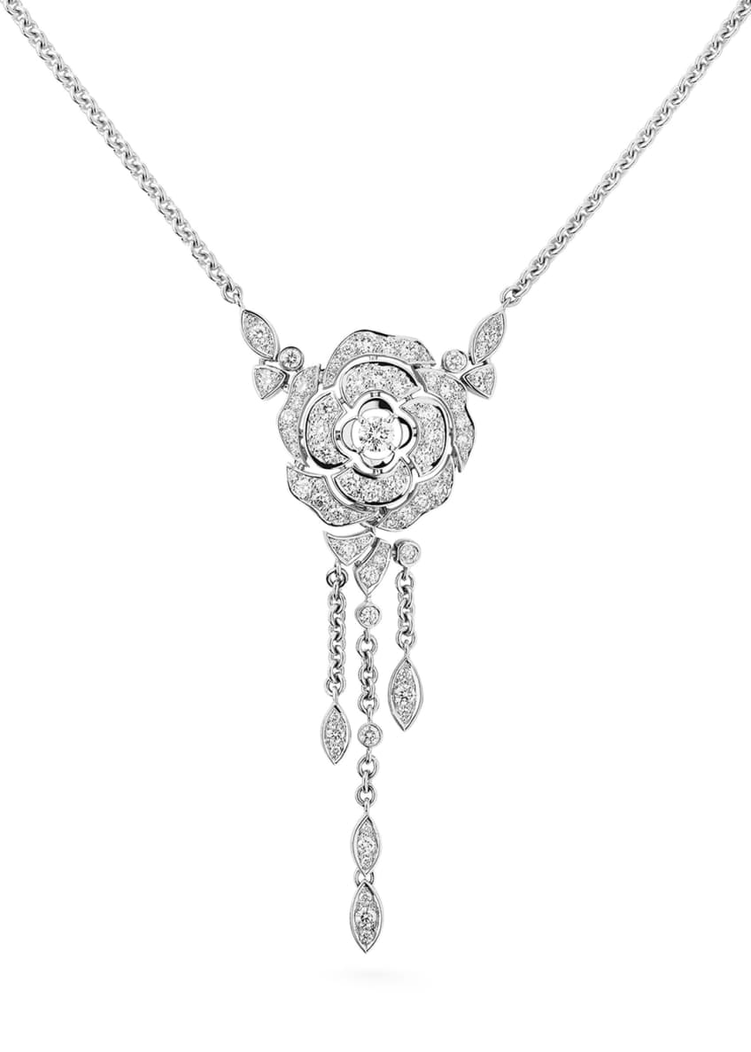 Image 1 of 1: BOUTON DE CAMELIA Necklace in 18K White Gold and Diamonds