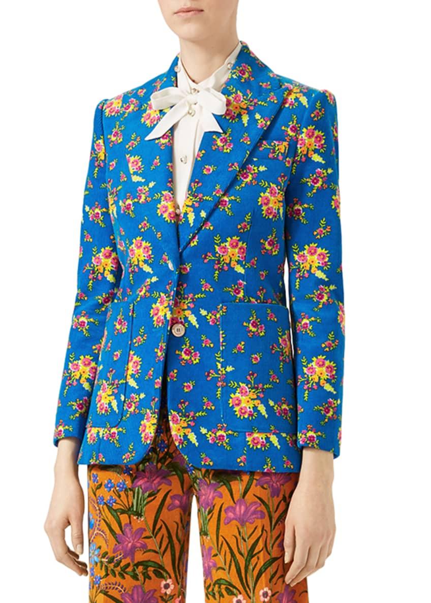 Gucci Bouquet Print Corduroy Jacket, Turquoise & Matching