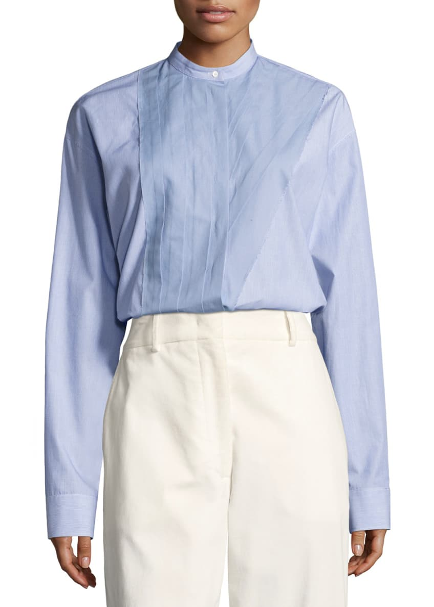 Cedric Charlier Band-Collar Poplin Blouse, Blue/White & Matching