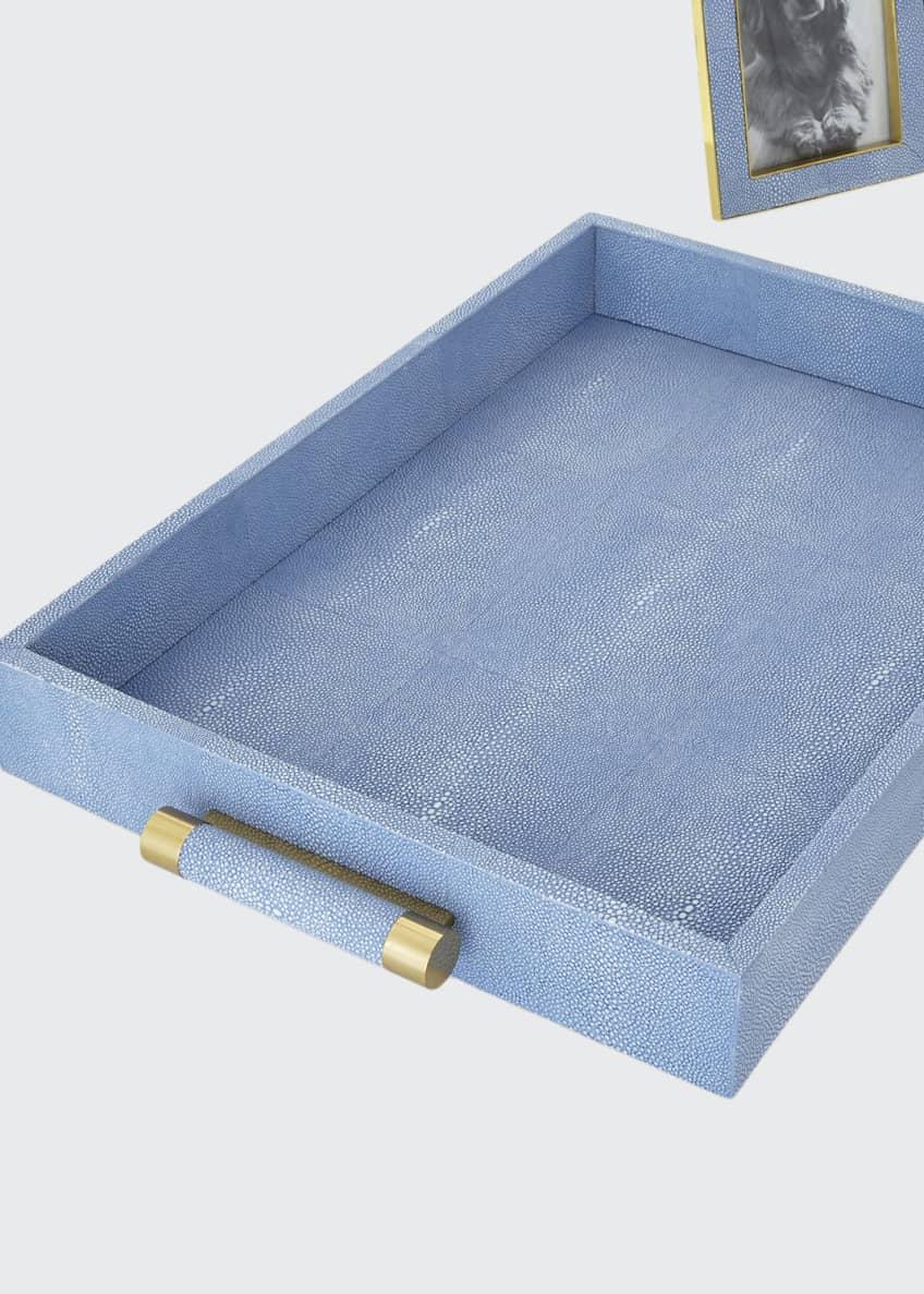 AERIN Blue Faux-Shagreen Rectangular Tray