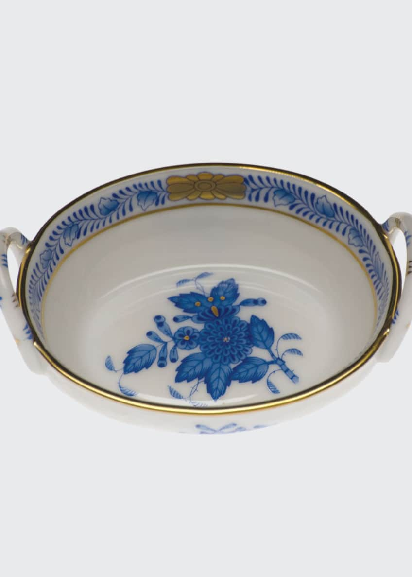 Herend Chinese Bouquet Blue Small Basket with Handles