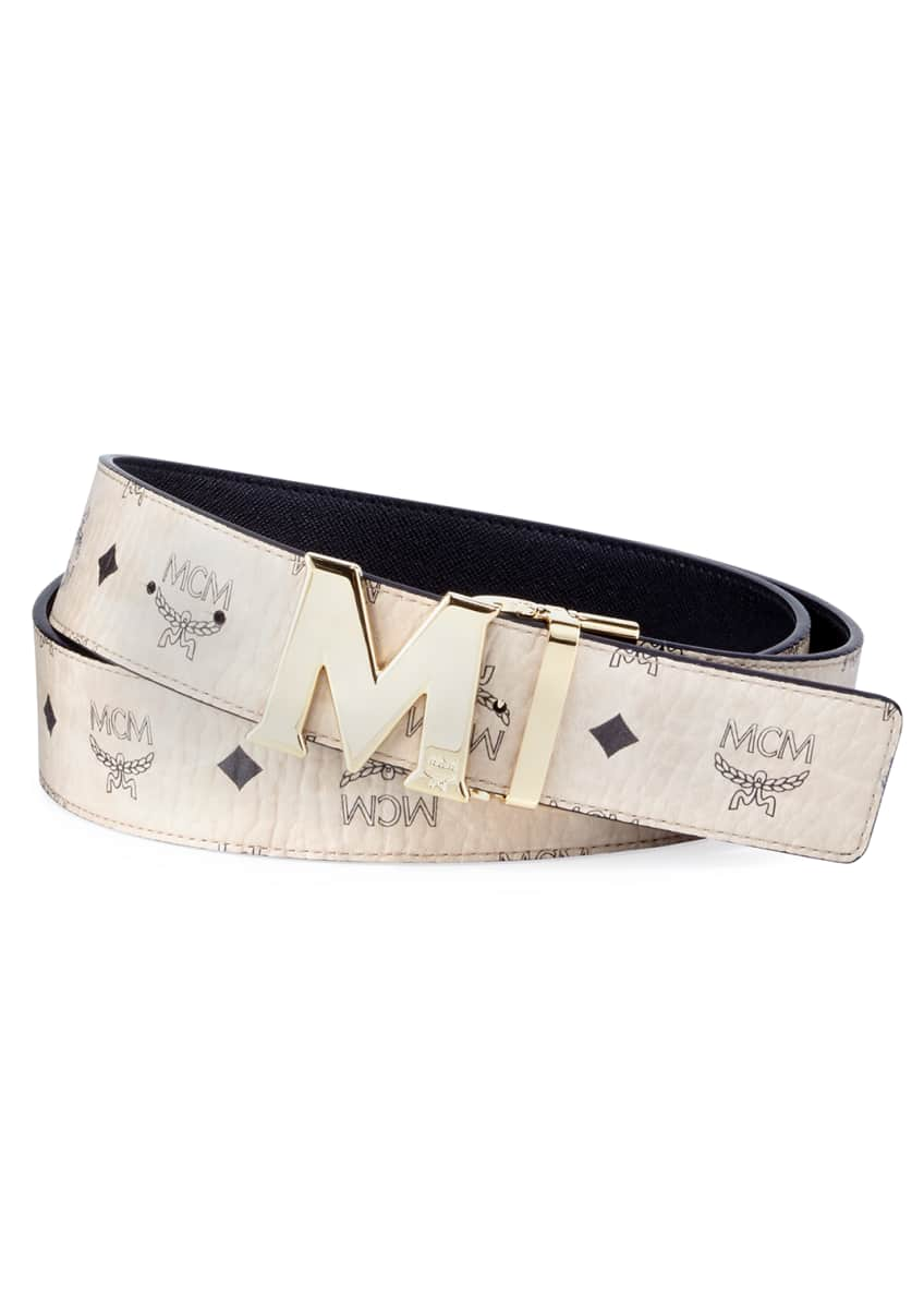 MCM Claus Reversible Visetos & Leather Belt &