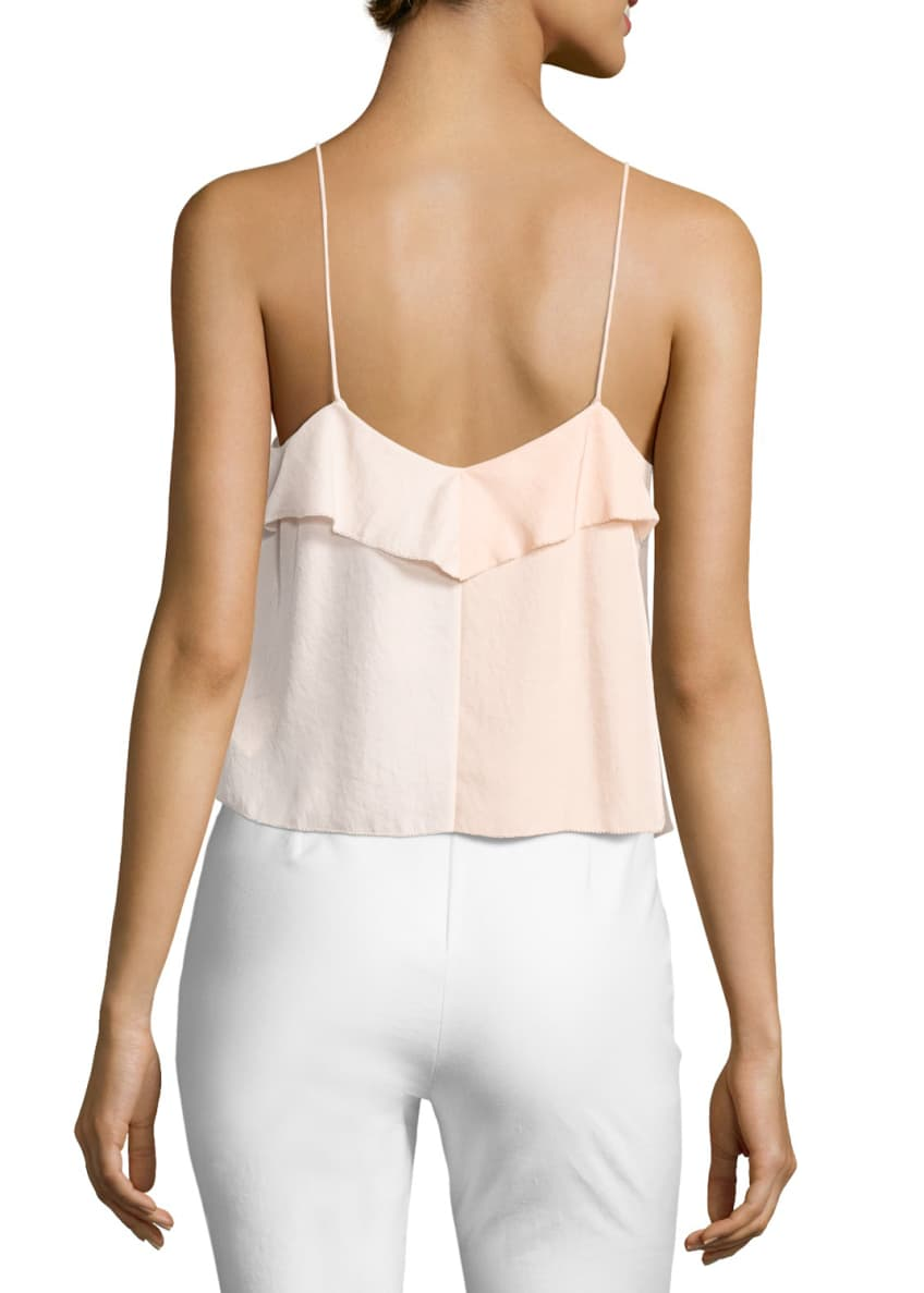 Image 2 of 2: Posta Ruffled Tank Top, Peach Orange