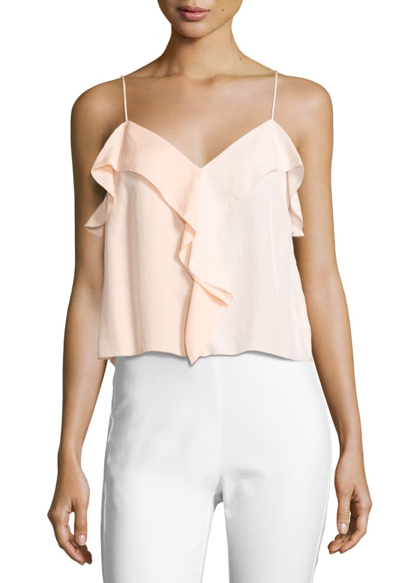 Image 1 of 2: Posta Ruffled Tank Top, Peach Orange