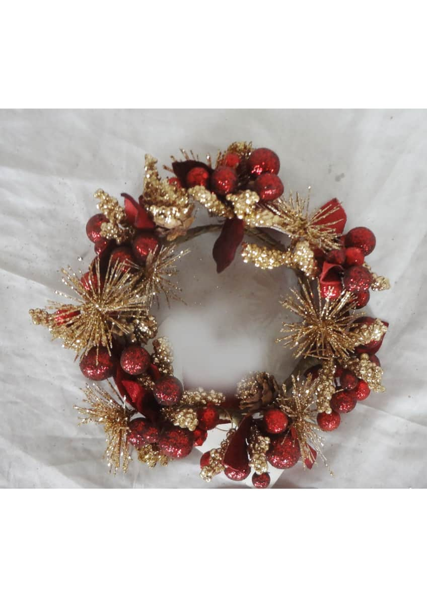Image 1 of 1: Burgundy and Rose Gold Christmas Wreath Candle Ring - 4""
