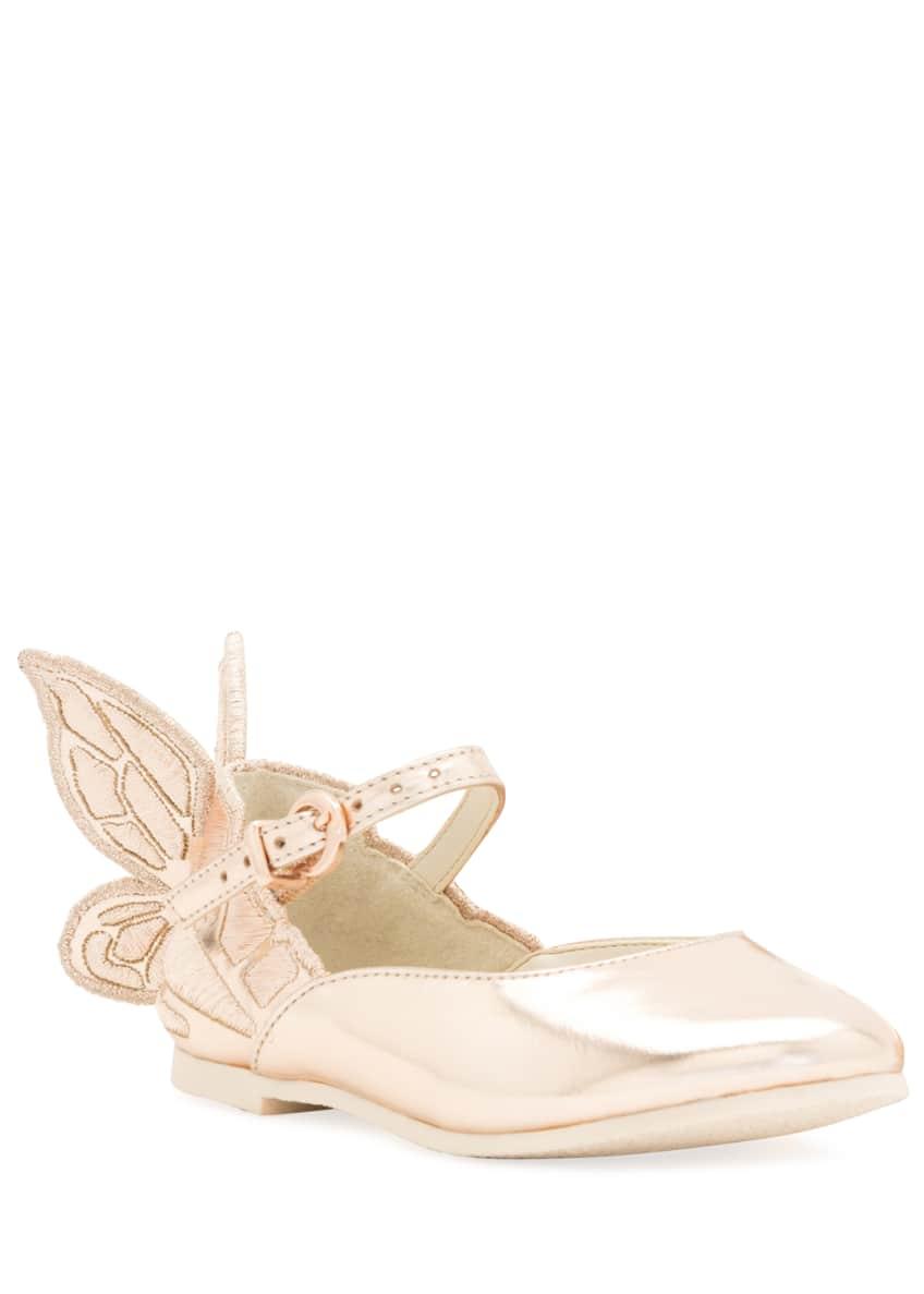 Sophia Webster Chiara Butterfly-Wing Flat, Pink, Infant Sizes