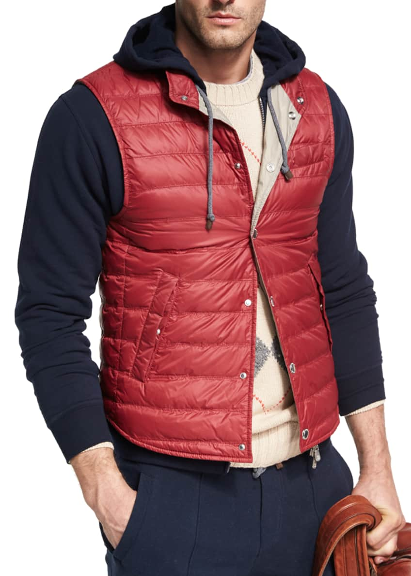 Brunello Cucinelli Quilted Nylon Snap Vest & Matching