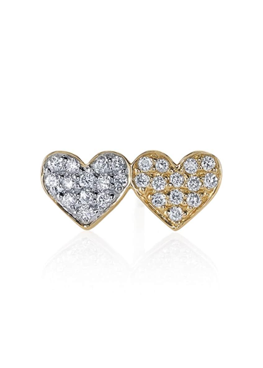 Sydney Evan 14k Double-Heart Diamond Stud Earring, Single