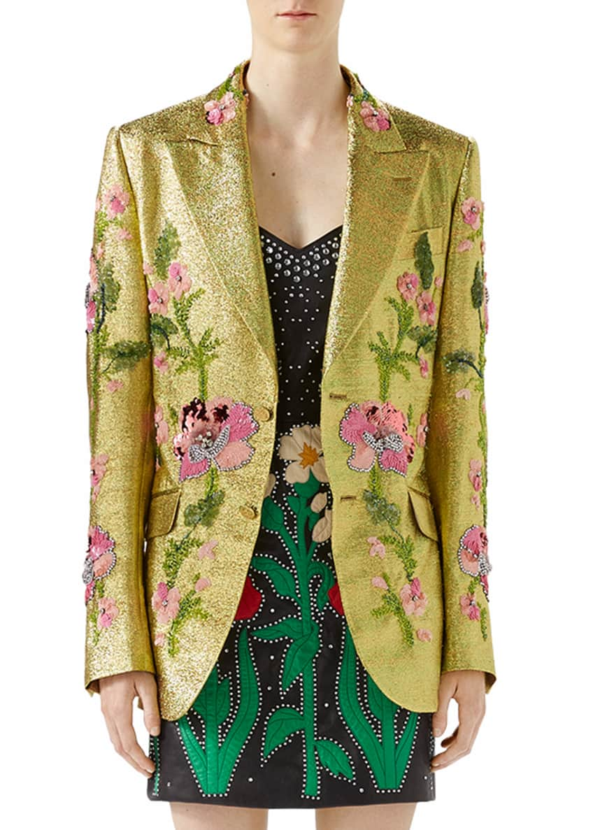Gucci Iridescent Floral-Embroidered Crepe Jacket & Matching Items