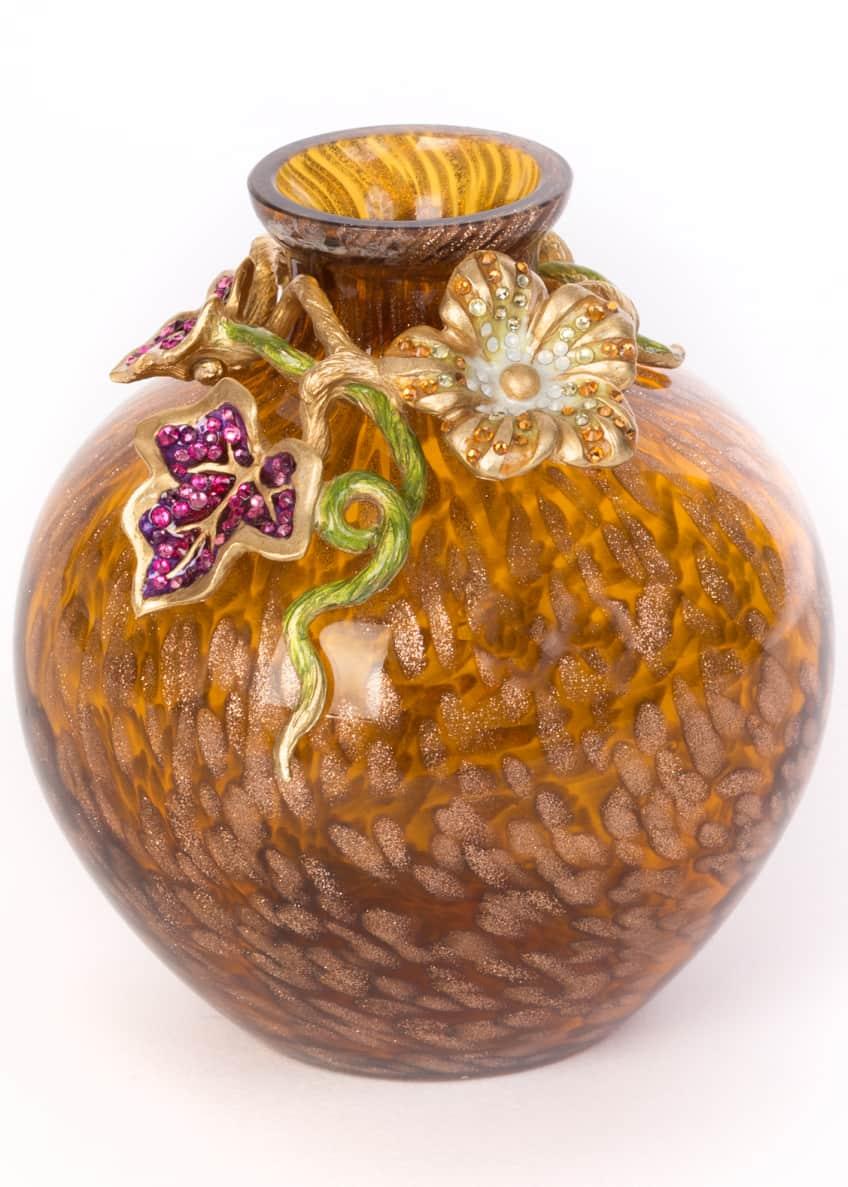 Jay Strongwater Leaf & Flower Mini Vase