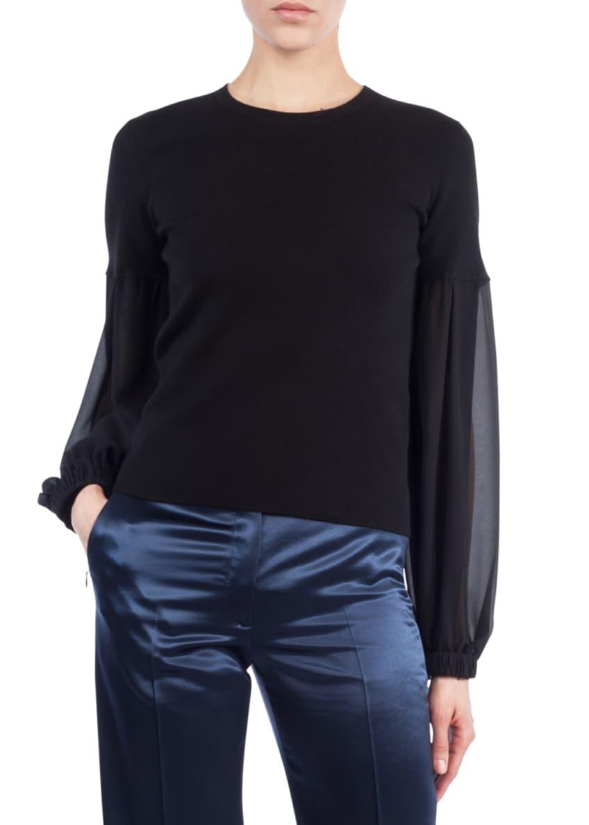 Akris Round-Neck Chiffon-Sleeve Knit Cashmere-Blend Blouse &