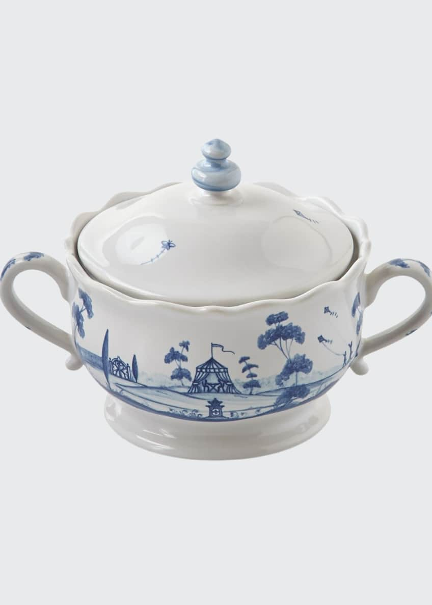 Image 1 of 2: Country Estate Delft Blue Lidded Sugar/Jam Bowl Main House