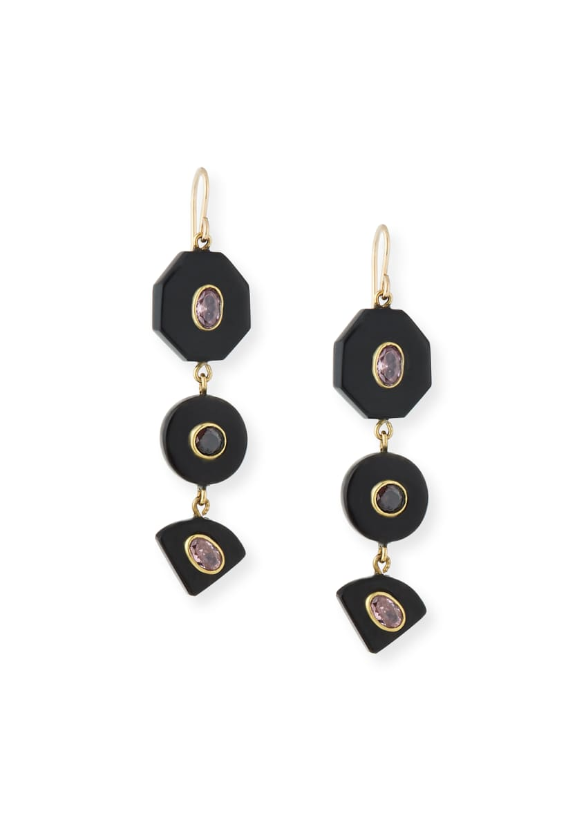 Ashley Pittman Zambarau Dark Horn Three-Drop Earrings