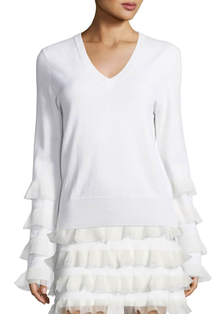 Derek Lam 10 Crosby V-Neck Long-Sleeve Wool Sweater