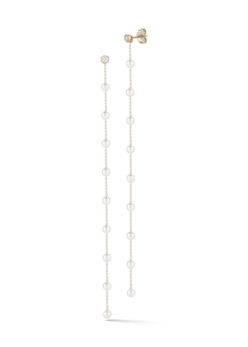 Mizuki 14k Diamond & Pearl Chain Dangle Earrings