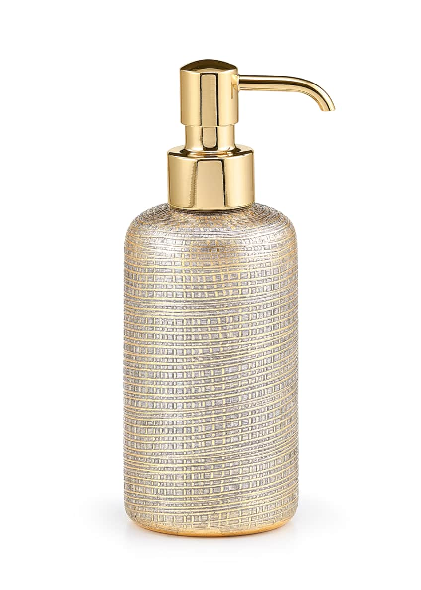Image 1 of 1: Woven Metallic Pump Dispenser with Golden Polished Top