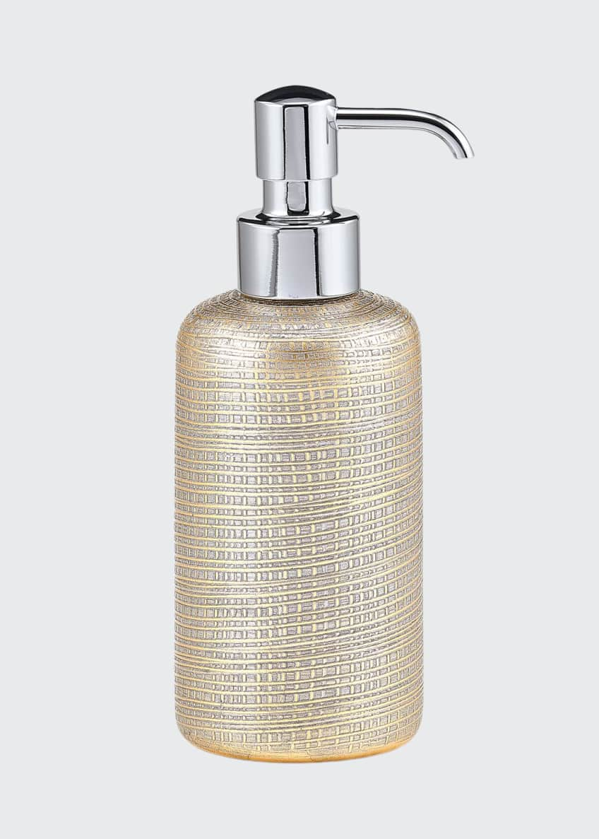 Image 1 of 1: Woven Metallic Pump Dispenser with Chrome Polished Top