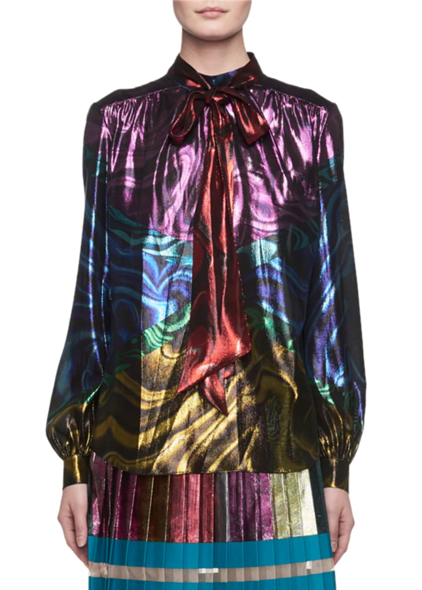 Mary Katrantzou Nighthawk Pleated Metallic Colorblock Midi Skirt