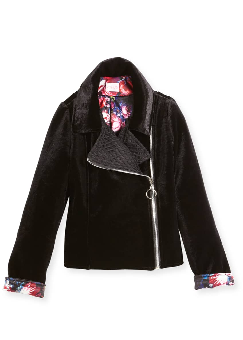 Zoe Harley Velvet Biker Jacket w/ Floral Lining,