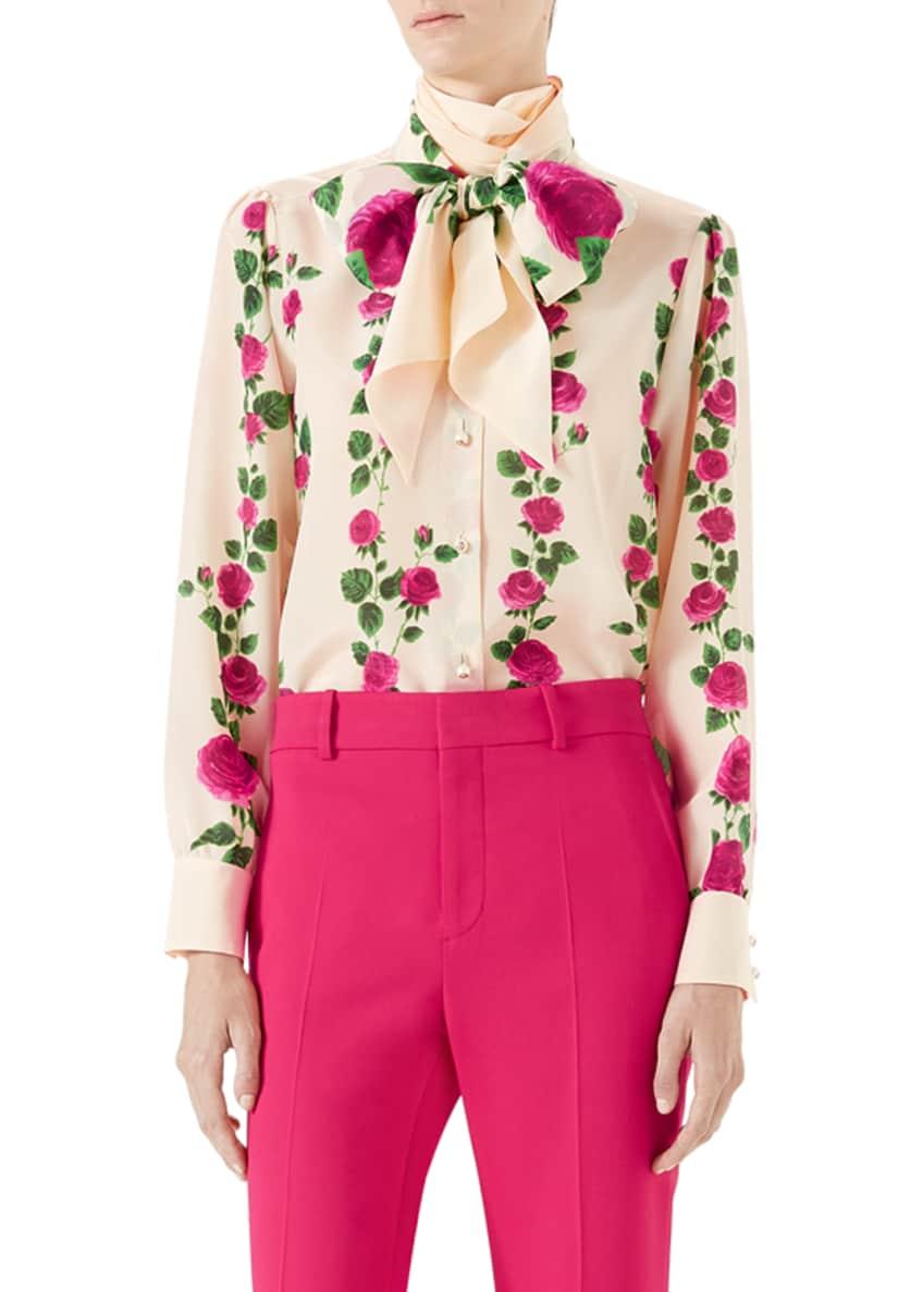 Gucci Climbing Roses Silk Button-Down Blouse w/ Neck