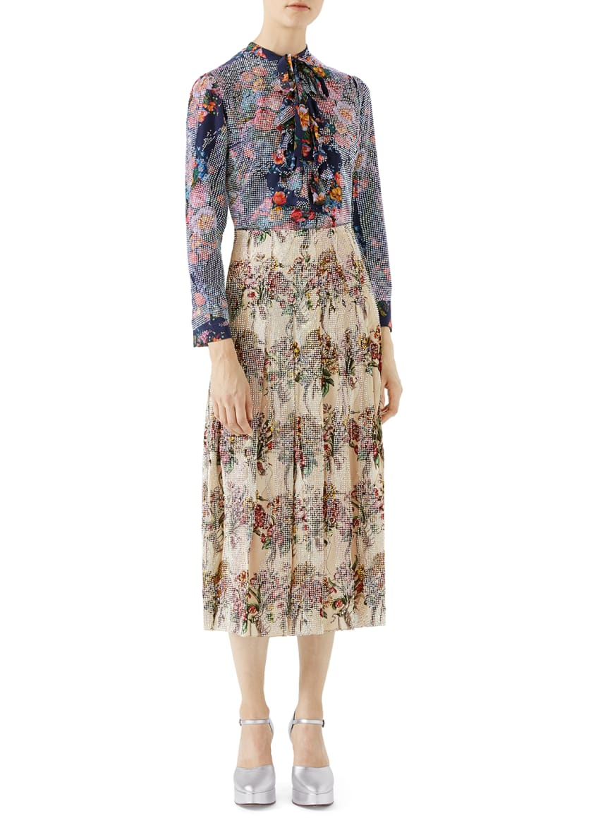 Gucci Floral-Print with Crystals Shirt & Matching Items